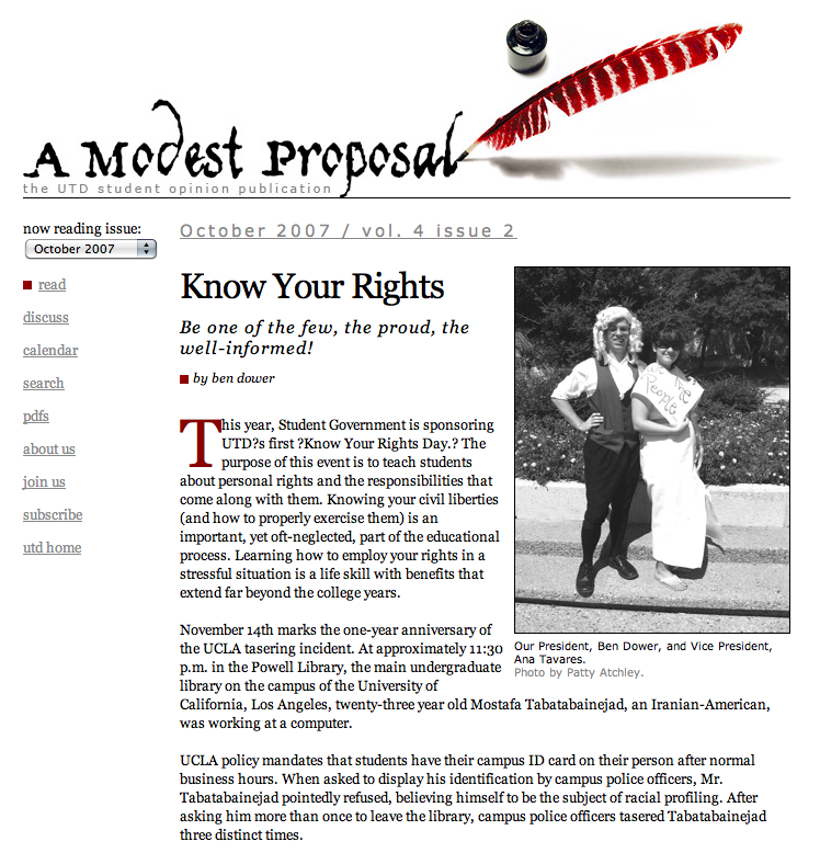 A Modest Proposal website