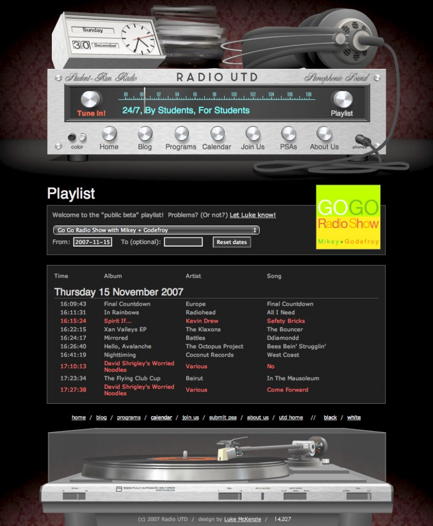 Radio UTD Website